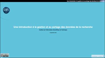 Inist-CNRS - Tutoriel Introduction à la gestion et au partage des données de la recherche